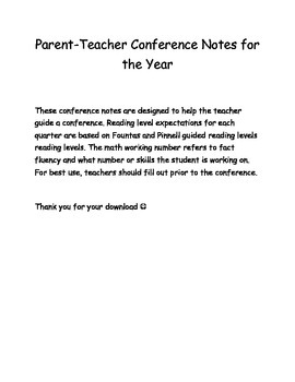 Parent Teacher Conference Notes