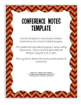 Parent Teacher Conference Notes Form