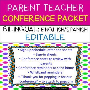 Parent Teacher Conference Packet {EDITABLE/BILINGUAL} Engl