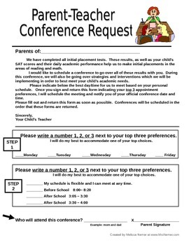 Parent Teacher Conference Request Form Letter... by MrsNemer ...