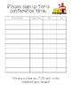 Parent-Teacher Conference Sign Up Sheet (Blank)