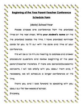 Parent Teacher Conference Sign Up/Reminder Cards