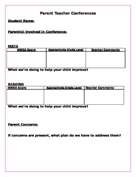 Parent Teacher Conferences- Editable