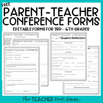 Free Parent-Teacher Conferences Packet for 3rd - 6th Grade