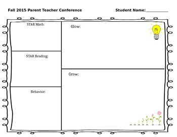 Parent Teacher Conferences Planning Form