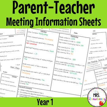 Year 1 Parent Teacher Meeting - Student Information Sheets