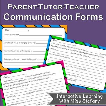 Parent Teacher Tutor Communication Forms