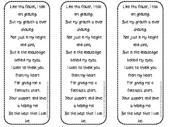 Parent Thank You Gift -Mother's Day/Father's Day bookmark
