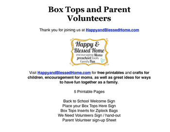 Parent Volunteer Forms and Collect Box Tops