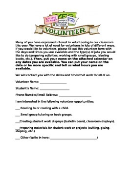 Parent Volunteer Letter (Spanish and English)