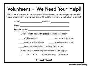 Parent Volunteer Note FREEBIE