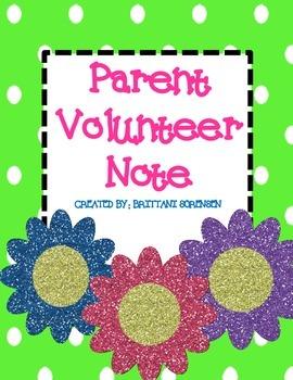 Parent Volunteer Sign Up Note