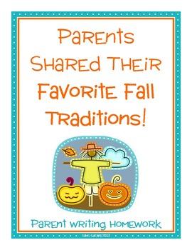Parent Writing Homework {Fall Traditions}