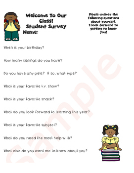 Parent and Student Survey...Back to School featuring Black