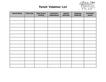 Parent volunteer list