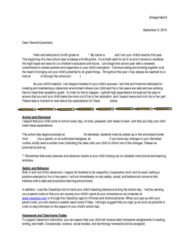 Back-to-School Family Welcome Letter Single Teacher and Co