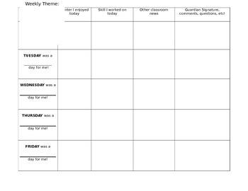 Parent/Teacher Communication Log- Weekly
