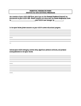 Parental Feedback Form- Used for IEP Team