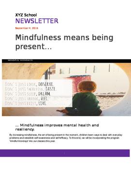 Parental Newsletter: Mindful Mondays