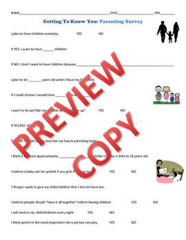 Parenting Survey Getting to Know You for Child Development