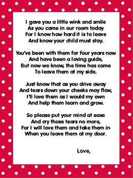 Parents First Day Welcome Poem Pre-K