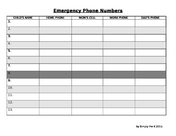 Emergency Phone Numbers Template
