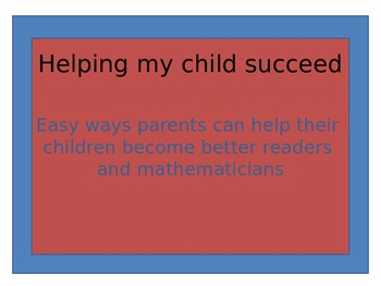 Parents Slideshow: how to help children become better read