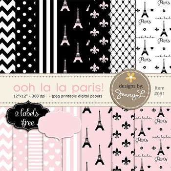 Paris Digital Paper, Eiffel Tower Printable Digital Backgr