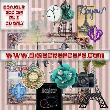 Paris France Bonjour png transparent clip art scrapbook jo