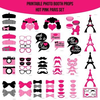Paris Hot Pink Printable Photo Booth Prop Set