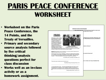 Paris Peace Conference worksheet - Treaty of Versailles -