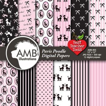 Digital Papers - Paris Poodle papers and Digital backgroun