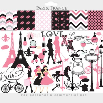 Paris clipart - France clipart Eiffel tower French pink, V