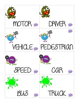 Parking Word Wars: Transportation Vocabulary