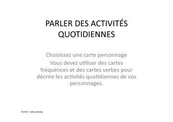 Parler des activités quotidiennes - daily routine in frenc