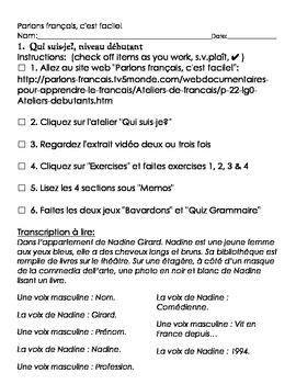 Parlons français, c'est facile activity sheet, débutant, #