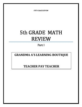 Part I Fifth Grade Math Review Test Practice
