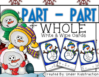 Part Part Whole Addition Write and Wipe Cards Center/Activ