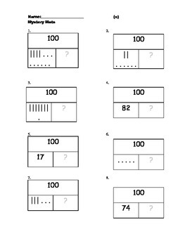 Part Part Whole Boxes for 20, 100, & 500 with base ten