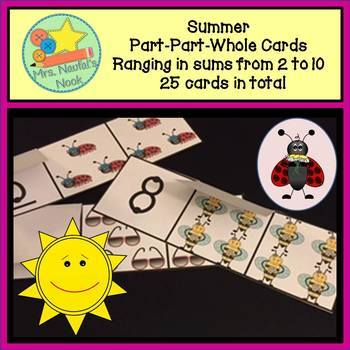 Part Part Whole Number Cards - Summer Theme