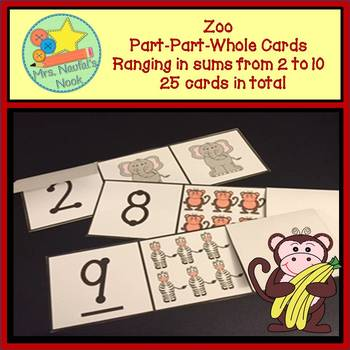 Part Part Whole Number Cards - Zoo Theme