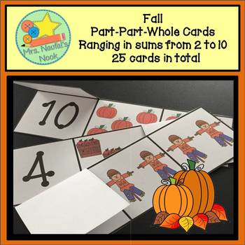 Part Part Whole Number Cards - Fall Theme
