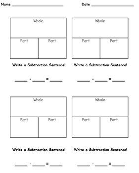 Part-Part-Whole Subtraction Practice Singapore Math