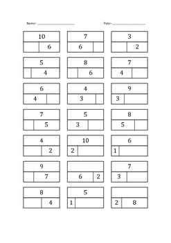 Part Part Whole Worksheets (numbers up to 10)