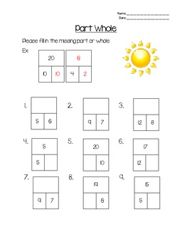 Part-Whole Worksheet: Numbers Through 20