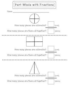 Part-Whole (fractions- 1/2 and 1/4)