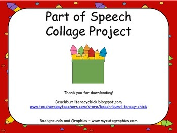 Part of Speech Collage Poster Activity
