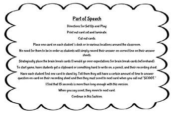 Part of Speech Grammar SCOOT Game 3rd Grade ~ FUN ELA Acti