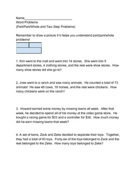 Part/Part Whole and other word problems