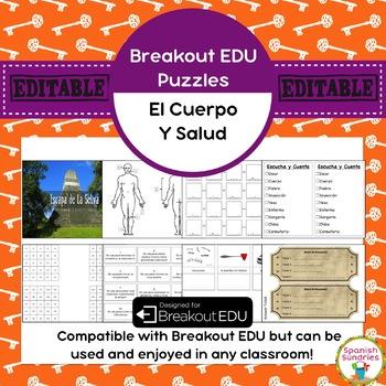 Partes del Cuerpo / Medical Breakout EDU Puzzles